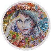 Warm Autumn Round Beach Towel by Rita Fetisov