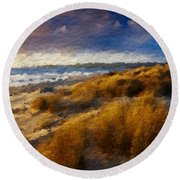 Warm Beach Day Abstract Round Beach Towel
