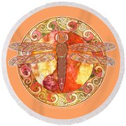 Warm Celtic Dragonfly Round Beach Towel
