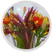 Warm Colored Flowers Round Beach Towel