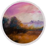 Warm Colorful Landscape Round Beach Towel by Michele Carter