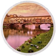 Warm Colors Surround Ponte Vecchio Round Beach Towel