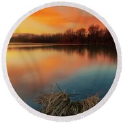 Round Beach Towel featuring the photograph Warm Evening by Davor Zerjav