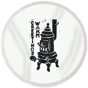 Round Beach Towel featuring the drawing Warm Greetings by Aileen Senior