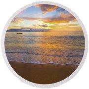 Warm Ka'anapali Sunset Round Beach Towel