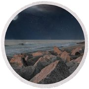Warm Moonrise At For Fisher Round Beach Towel
