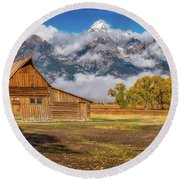Warm Morning Light In The Tetons Round Beach Towel