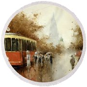 Warm Moscow Autumn Of 1953 Round Beach Towel