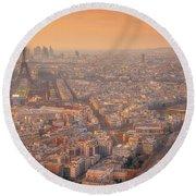 Round Beach Towel featuring the photograph Warm Paris Sunset by Darren White