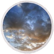 Round Beach Towel featuring the photograph Warm Paso Robles Sky by Michael Rock