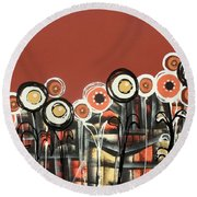 Warm Red Flowers Round Beach Towel