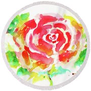 Warm Red Rose  Round Beach Towel by Nada Meeks
