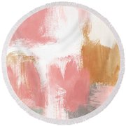 Warm Spring- Abstract Art By Linda Woods Round Beach Towel