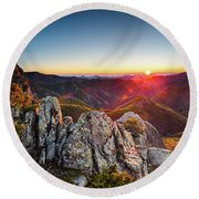 Warm Sunlight At Sunrise In The Mountain Round Beach Towel