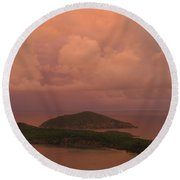 Round Beach Towel featuring the photograph Warm Sunset Palette Of Inner And Outer Brass Islands From St. Thomas by Jetson Nguyen