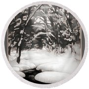 Warmth Of A Winter Day Round Beach Towel