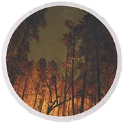 Warmth Of Trees And Stars Round Beach Towel
