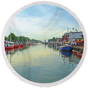 Warnemunde Germany Port Round Beach Towel by Eva Kaufman
