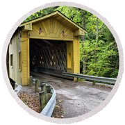 Round Beach Towel featuring the photograph Warner Hollow Covered Bridge by Betty Pauwels