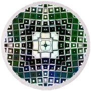 Round Beach Towel featuring the digital art Warped Chrome Compass by Shawna Rowe