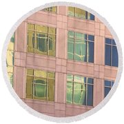 Warped Window Reflectionss Round Beach Towel by Linda Phelps