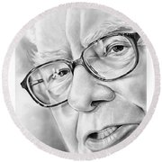 Warren Buffett Round Beach Towel by Greg Joens