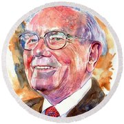 Warren Buffett Painting Round Beach Towel
