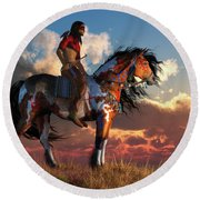 Warrior And War Horse Round Beach Towel
