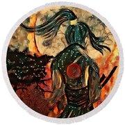 Warrior Moon Round Beach Towel by Vennie Kocsis