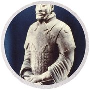 Round Beach Towel featuring the photograph Warrior Of The Terracotta Army by Heiko Koehrer-Wagner