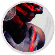 Round Beach Towel featuring the digital art Warrior Princess by Serge Averbukh