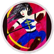 Warrior Queen  Round Beach Towel