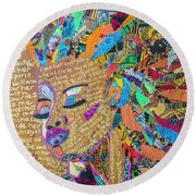 Round Beach Towel featuring the tapestry - textile Warrior Woman by Apanaki Temitayo M