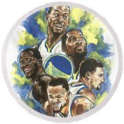 Warriors Round Beach Towel