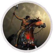 Warriors Of The Plains Round Beach Towel