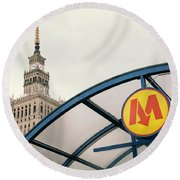 Round Beach Towel featuring the photograph Warsaw by Chevy Fleet