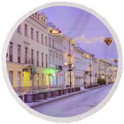 Round Beach Towel featuring the photograph Warsaw by Juli Scalzi