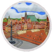 Round Beach Towel featuring the painting Warsaw- Old Town by Magdalena Frohnsdorff