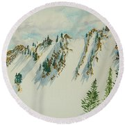 Wasatch Mountain Powder Chutes Round Beach Towel