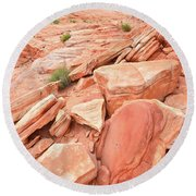Round Beach Towel featuring the photograph Wash 4 Color In Valley Of Fire by Ray Mathis
