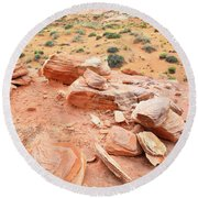 Round Beach Towel featuring the photograph Wash 4 In Valley Of Fire by Ray Mathis