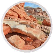 Wash 5 In Valley Of Fire Round Beach Towel
