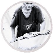 Round Beach Towel featuring the photograph Wash Day Again by Jez C Self