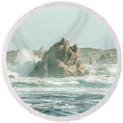 Wash Of Blue Round Beach Towel