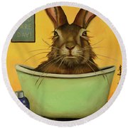 Wash Your Hare Round Beach Towel