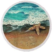 Round Beach Towel featuring the painting Washed A Shore by Darice Machel McGuire