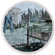 Round Beach Towel featuring the painting Washed Pants by Jack G Brauer