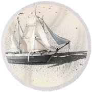 Washed Up Wooden Boat Round Beach Towel