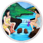 Washing In The River Round Beach Towel by Cyril Maza