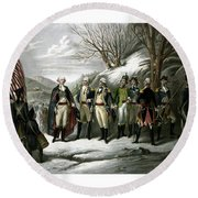 Washington And His Generals  Round Beach Towel